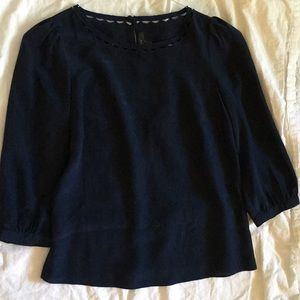 Navy silk top wit 3/4 sleeve